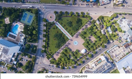 Beautiful aerial view of Emancipation Park in Jamaica Kingston