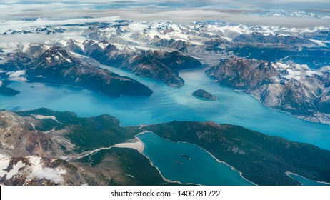 Beautiful aerial view of the fjords while flying from Anchorage to Juneau in Alaska, USA