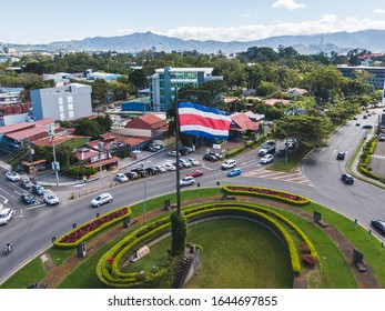 Beautiful aerial view of the Flag roundabout in San Pedro Costa Rica