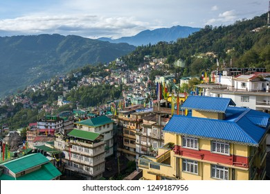 Beautiful aerial view of the Gangtok city, capital of Sikkim state, Northern India.