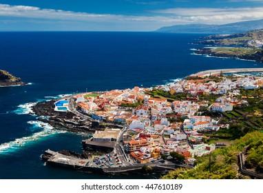 beautiful aerial view of the Garachico town, Tenerife, Canary Islands, Spain