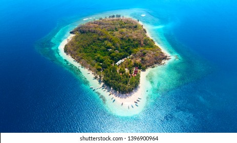 Beautiful aerial view of Gili Nanggu Island with white sand and turquoise water in Lombok near Bali, Indonesia