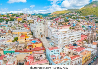 Beautiful aerial view of Guanajuato city, Mexico