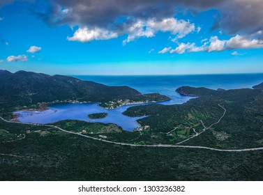Beautiful aerial view at Ierakas, a picturesque fishing village in Laconia, Greece. The village is also known as the Greek natural Fjord due to the geomorphology of the place. Peloponnese, Greece