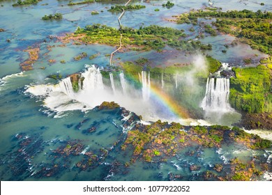Beautiful aerial view of Iguazu Falls from the helicopter ride - One of the Seven Natural Wonders of the World - Foz do Iguaçu, Brazil