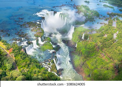 Beautiful aerial view of Iguazu Falls, one of the Seven Natural Wonders of the World - Foz do Iguaçu, Brazil