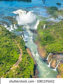 Beautiful aerial view of Iguazu Falls from the helicopter ride, one of the Seven Natural Wonders of the World - Foz do Iguaçu, Brazil.
