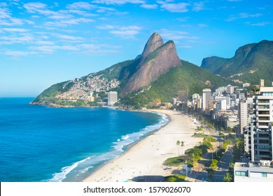 Beautiful aerial view of Ipanema and Leblon  Beach with Two Brothers Mountain (Morro Dois Irmãos) and Favela Vidigal in the background - Rio de Janeiro,Brazil