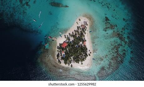 Beautiful aerial view of Isla Perro San Blas Panamá.