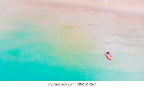 Beautiful Aerial view island paradise with sea beach for travel - Holiday vacation concept