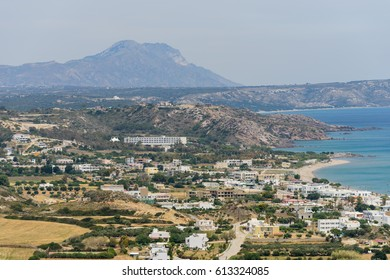 Beautiful aerial view of Kefalos village, Kastri island and the coastline of Kos island, Dodecanese, Greece