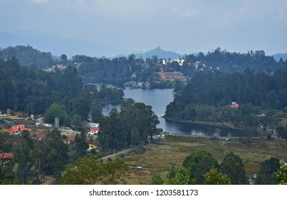 Beautiful aerial view of Kodaikanal lake, Tamil Nadu.