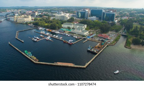 Beautiful aerial view of Labuan town with seascape,sailing,motorboats & buildings in Labuan Pearl of Borneo,Malaysia.