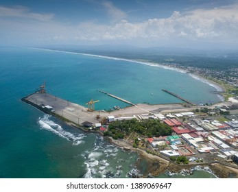 Beautiful aerial view of the Limon pier and Town in Costa Rica