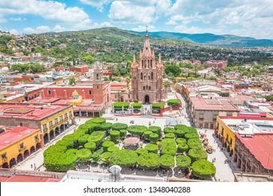 Beautiful aerial view of the main square of San Miguel de Allende in Guanajuato, Mexico