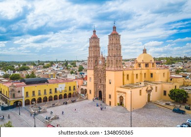 Beautiful aerial view of the main square and the church of Dolores Hidalgo in Guanajuato, Mexico