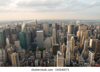 Beautiful aerial view of Manhattan skyscrapers - New York City skyline.