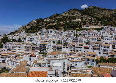 Beautiful aerial view of Mijas - Spanish hill town overlooking the Costa del Sol, not far from Malaga. Mijas known for its white-washed buildings. Mijas, Andalusia, Spain.