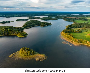 Beautiful aerial view of Moletai region, famous or its lakes. Scenic summer evening landscape, Moletai, Lithuania.