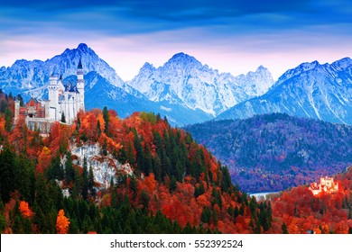 Beautiful aerial view of morning scene Hohenschwangau  and Neuschwanstein castle in, Germany, Bavaria region. Artistic style post processed photo.