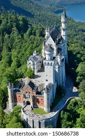 Beautiful aerial view of Neuschwanstein Castle and in the background alp lake