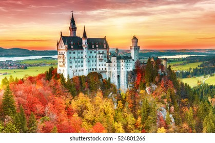 Beautiful aerial view of Neuschwanstein castle in autumn season. Palace situated in Bavaria, Germany. Neuschwanstein castle one of the most popular palace and travel destination in Europe and world.