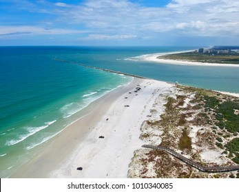 Beautiful aerial view of the oceanic bay at Ponce Inlet, Florida.