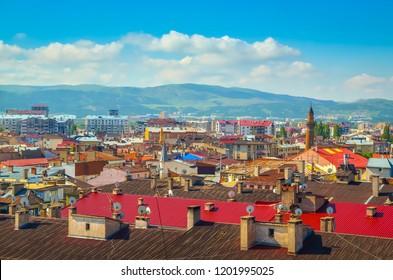 Beautiful aerial view on city Sivas, Turkey