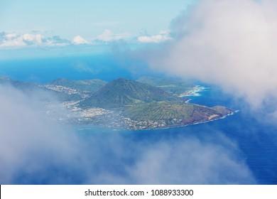 Beautiful aerial view on the diamond head crater on the island of Oahu, Hawaii, USA