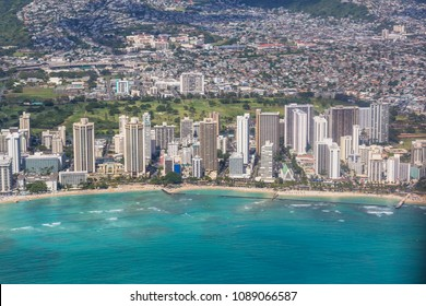 Beautiful aerial view on the diamond head crater on the island of Oahu, Hawaii, USA
