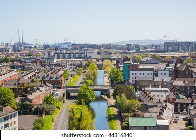 Beautiful aerial view on Dublin, capital of Ireland with canals and narrow streets.