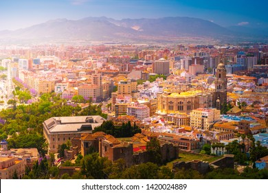 Beautiful aerial view on the Malaga center with cathedral on a sunny day. Malaga, Costa del Sol, Andalusia, Spain.