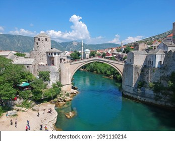 Beautiful aerial view on Mostar city with the Old Bridge (Stari Most), in Mostar, Bosnia and Herzegovina