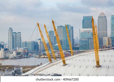 Beautiful aerial view on the O2 dome arena in London with Canary Wharf on the background