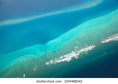 Beautiful aerial view on ocean with reef