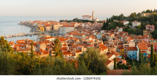 Beautiful aerial view on Piran town at the morning, ancient buildings with red roofs and Adriatic sea in southwestern Slovenia