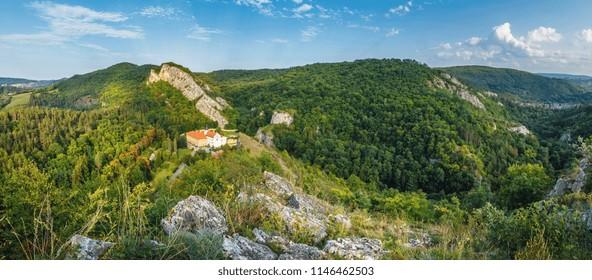 Beautiful aerial view on small village Svaty Jan pod Skalou, Czech Republic