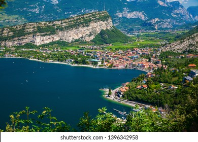 beautiful aerial view on the small village Nago-Torbole on the north of Garda Lake, Italy