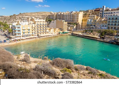 Beautiful Aerial View over Xlendi Town, Xlendi Bay, Gozo Island, Malta, Travel Wallpaper