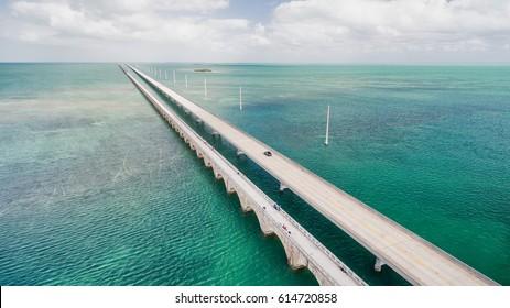 Beautiful aerial view of Overseas Highway Bridge, Florida.