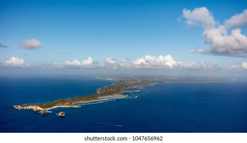 Beautiful aerial view of the Pointe des Chateaux, Guadeloupe Island