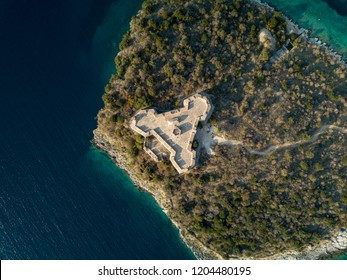 Beautiful aerial view of Porto Palermo Castle in Himara, Albania