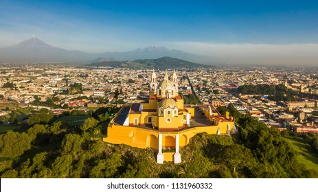 Beautiful aerial view of Puebla Mexico and its church