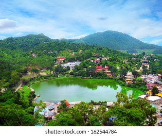 Beautiful aerial view - serene lake Tsopema in Rewalsar (Trisangam) - sacred city for three major Dharma religions - Hinduism, Buddhism and Sikhism, Mandi district, Himachal Pradesh, Northern India