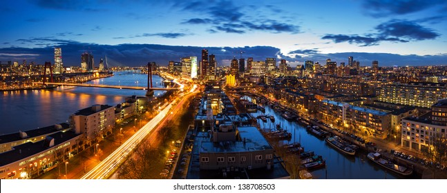 Beautiful aerial view of the skyline of Rotterdam, the Netherlands, at twilight