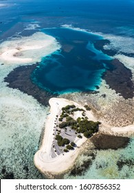Beautiful aerial view of small Sand bar Islands in East Nusa Tenggara, Flores, Indonesia