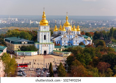Beautiful aerial view of St. Michael's Golden-Domed Monastery. Famous symbol of Kyiv, Ukraine.