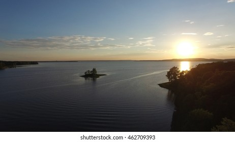 Beautiful Aerial View Of St-Laurent River in Montreal's West Island - Peaceful Nature Sunny Background View