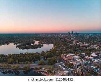 Beautiful aerial view of the sunset over Minneapolis Minnesota lakes and downtown.