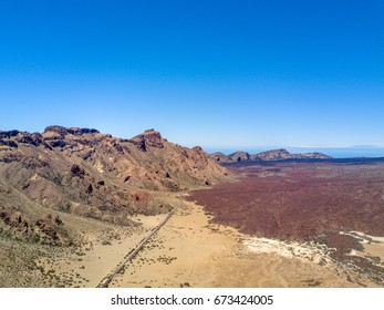 Beautiful aerial view of the Teide volcano from the desert on Tenerife island